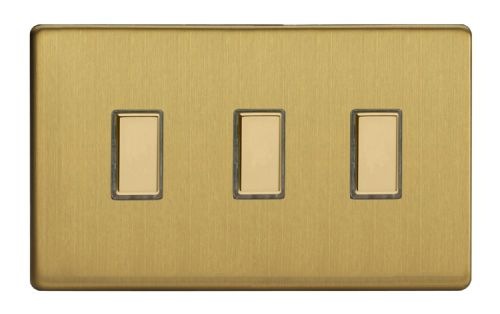 Varilight JDBES003S Screwless Brushed Brass 3 Gang Touch Dimming Slave (use with V-Pro Master)